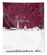 Washington Dc Skyline Map 3 Fleece Blanket
