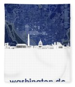 Washington Dc Skyline Map 4 Fleece Blanket