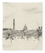 Washington Dc Skyline Music Notes 2 Fleece Blanket