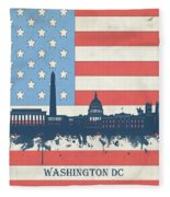Washington Dc Skyline Usa Flag 3 Fleece Blanket