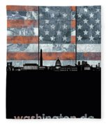 Washington Dc Skyline Usa Flag Fleece Blanket