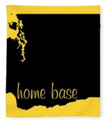 Washington Is Home Base Black Fleece Blanket