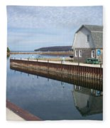 Washington Island Harbor 2 Fleece Blanket