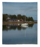 Washington Island Harbor 3 Fleece Blanket