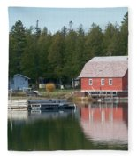 Washington Island Harbor 6 Fleece Blanket