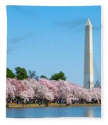 Washington Monument And Cherry Blossoms Fleece Blanket