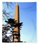 Washington Monument At Dusk Fleece Blanket