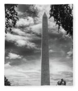 Washington Monument Black And White Fleece Blanket