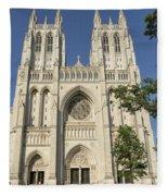 Washington National Cathedral Front Exterior Fleece Blanket