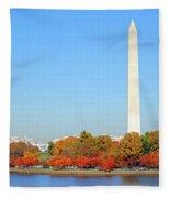 Washington On A Autumn Day Fleece Blanket