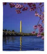 Washington Reflection And Blossoms Fleece Blanket