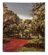 Washington Square In Mobile Alabama Painted Fleece Blanket