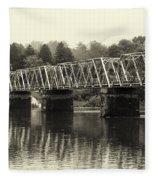 Washington's Crossing Bridge On A Rainy Day Fleece Blanket