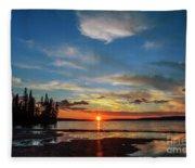 A Delightful Summer Sunset On Lake Waskesiu In Canada Fleece Blanket