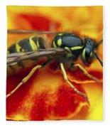 Wasp In The Bloom Fleece Blanket
