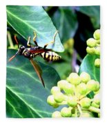 Wasp On The Ivy Fleece Blanket