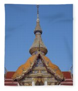 Wat Chaimongkron Phra Wihan Gable And Spire Dthcb0090 Fleece Blanket