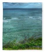 Watching From Afar Kuilei Cliffs Beach Park Surfing Hawaii Collection Art Fleece Blanket