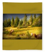 Watching Elk Iv Fleece Blanket