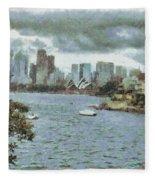 Water And Skyline Fleece Blanket