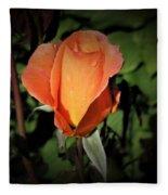 Water Beads On Orange Rose Fleece Blanket
