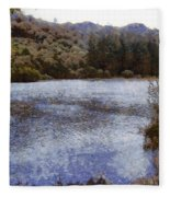 Water Body Surrounded By Greenery Fleece Blanket