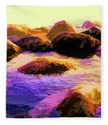Water Color Like Rocks In Ocean At Sunset Fleece Blanket