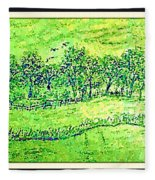 Water Color Of Apple Orchard Farm Fleece Blanket