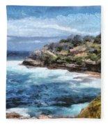 Water Cove With Rocky Cliffs Fleece Blanket