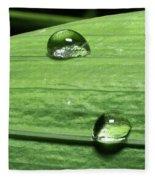 Water Droplet On A Leaf Fleece Blanket