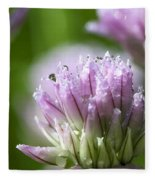Water Droplets On Chives Flowers Fleece Blanket