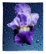 Water Drops On Purple Iris Fleece Blanket