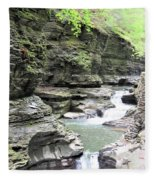 Water Flowing Through The Gorge Fleece Blanket