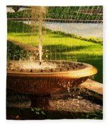 Water Fountain Garden Fleece Blanket