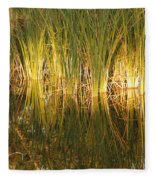 Water Grass In Sunset Fleece Blanket