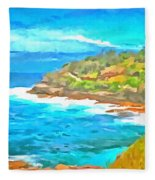 Water Gushing In On A Natural Cove Fleece Blanket