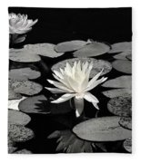 Water Lilies In Black And White Fleece Blanket