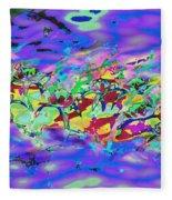 water lilies In twilight Fleece Blanket