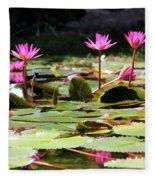 Water Lilies Tam Coc  Fleece Blanket