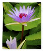 Water Lily In A Tropical Garden_4657 Fleece Blanket