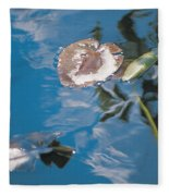 Water Lily Leaves And Reflection Of Clouds In Unknown Lake Fleece Blanket