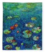 Water Lily Lotus Lily Pads Paintings Fleece Blanket