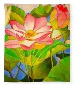 Water Lily Lotus Fleece Blanket