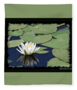 Water Lily With Black Border Fleece Blanket