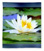 Water Lily With Blue Border - Digital Painting Fleece Blanket
