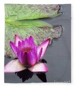 Water Lily With Rain Drops Fleece Blanket