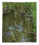 Water Pond Reflection In Peters Canyon Fleece Blanket