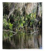 Water Reeds And Spanish Moss Fleece Blanket