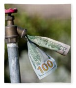 Water Spigot With Money Flowing Out Fleece Blanket