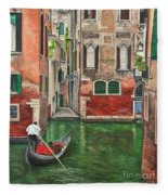 Water Taxi On Venice Side Canal Fleece Blanket